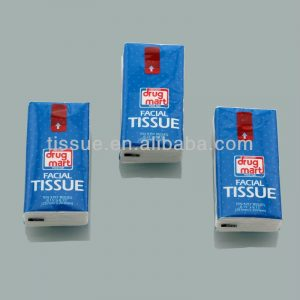 Packaging of pocked tissue paper with noticeable self adhesive tape drug mart