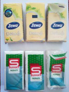 pocked tissue paper with imperceptible self adhesive tape zeva fazzoletti