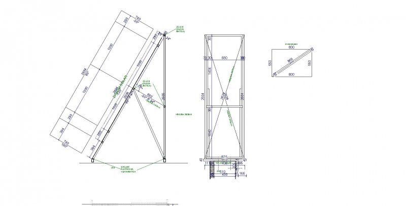 Side drawing construction box the solar collector