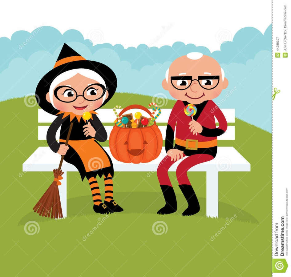 elderly couple celebrating halloween grandparents dressed festive costumes celebrate