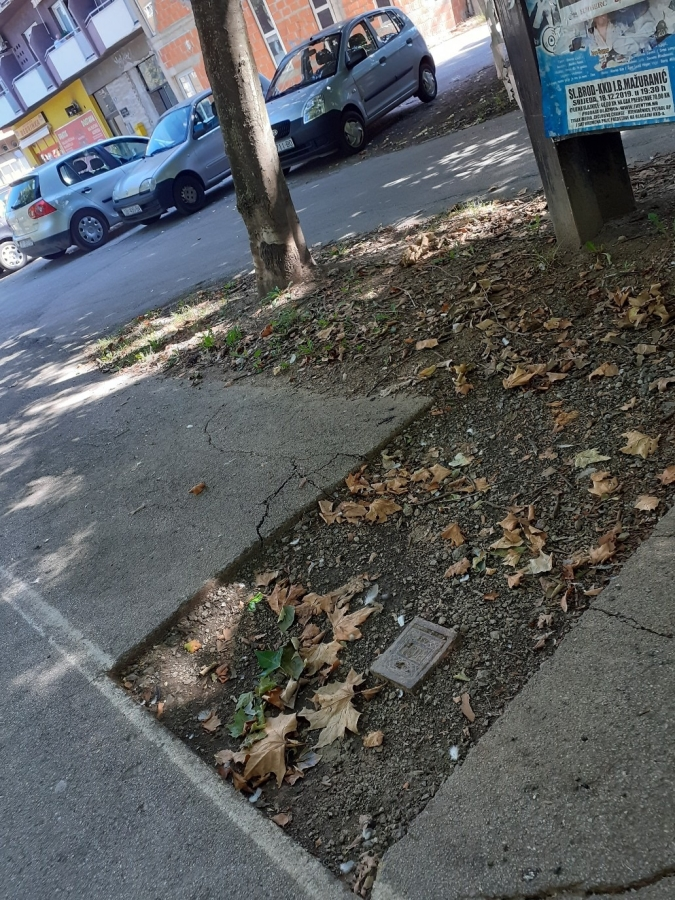 unfinished paving footpath