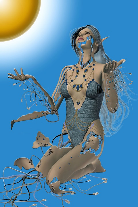 communal infrastructure and equipment-woman-robot